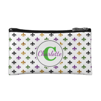 Trendy Monogram Mardi Gras Fleur De Lis Makeup Bag