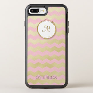 Trendy Monogram Pink and Chic Gold Chevron Stripe OtterBox Symmetry iPhone 8 Plus/7 Plus Case