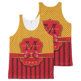 Trendy Monogram Retro Yellow Polka Dot Red Stripes All-Over-Print Tank Top