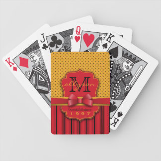 Trendy Monogram Retro Yellow Polka Dot Red Stripes Bicycle Playing Cards