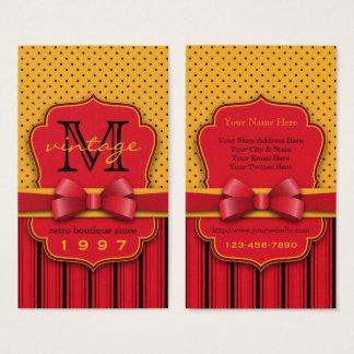 Trendy Monogram Retro Yellow Polka Dot Red Stripes Business Card