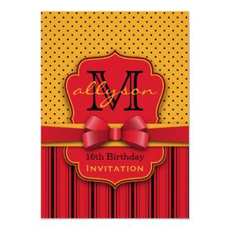 Trendy Monogram Retro Yellow Polka Dot Red Stripes Card