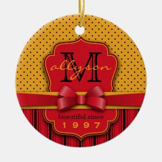 Trendy Monogram Retro Yellow Polka Dot Red Stripes Ceramic Ornament