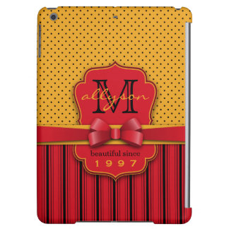 Trendy Monogram Retro Yellow Polka Dot Red Stripes Cover For iPad Air