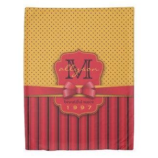 Trendy Monogram Retro Yellow Polka Dot Red Stripes Duvet Cover
