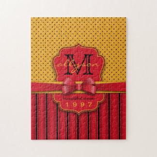 Trendy Monogram Retro Yellow Polka Dot Red Stripes Jigsaw Puzzle