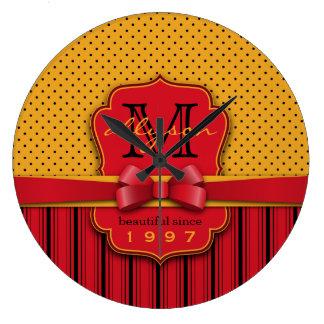 Trendy Monogram Retro Yellow Polka Dot Red Stripes Large Clock
