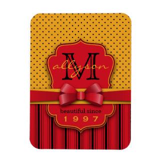 Trendy Monogram Retro Yellow Polka Dot Red Stripes Magnet
