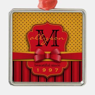 Trendy Monogram Retro Yellow Polka Dot Red Stripes Metal Ornament