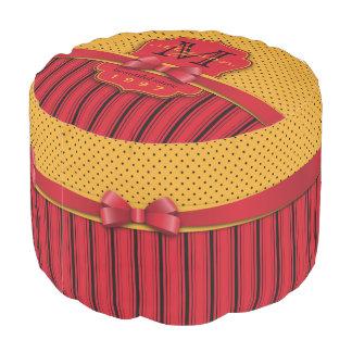 Trendy Monogram Retro Yellow Polka Dot Red Stripes Pouf