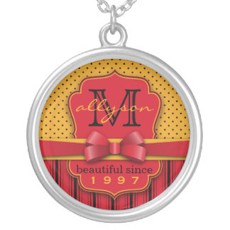 Trendy Monogram Retro Yellow Polka Dot Red Stripes Silver Plated Necklace