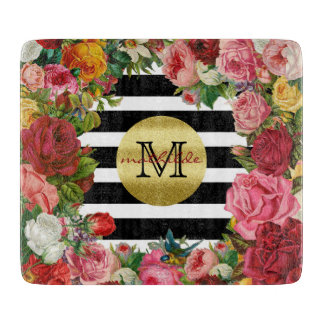 Trendy Monogram Stripes Roses Flowers Gold Glitter Cutting Board