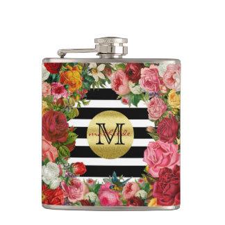 Trendy Monogram Stripes Roses Flowers Gold Glitter Flask