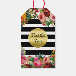 Trendy Monogram Stripes Roses Flowers Gold Glitter Gift Tags