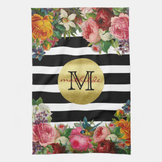 Trendy Monogram Stripes Roses Flowers Gold Glitter Kitchen Towel