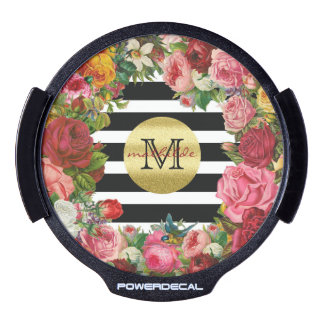 Trendy Monogram Stripes Roses Flowers Gold Glitter LED Window Decal