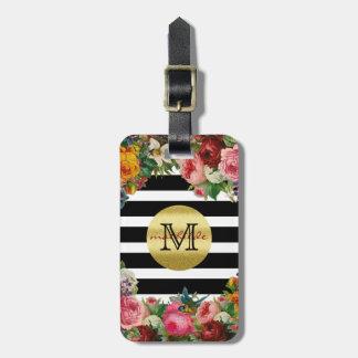 Trendy Monogram Stripes Roses Flowers Gold Glitter Luggage Tag