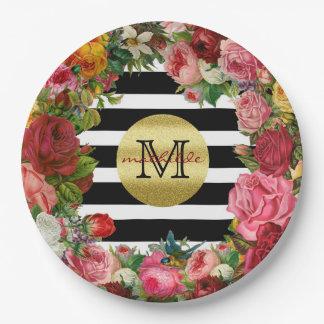 Trendy Monogram Stripes Roses Flowers Gold Glitter Paper Plate