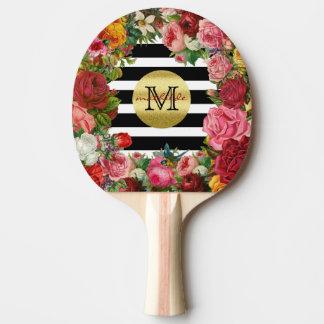 Trendy Monogram Stripes Roses Flowers Gold Glitter Ping-Pong Paddle