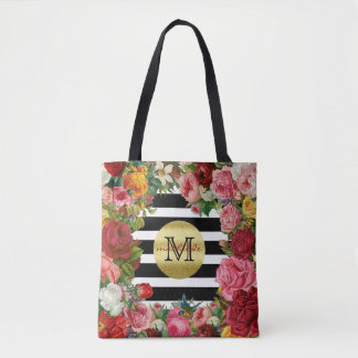 Trendy Monogram Stripes Roses Flowers Gold Glitter Tote Bag