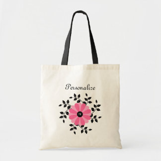 Trendy Monogrammed Pink And Black Flower With Name Tote Bag