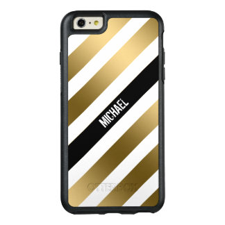 Trendy Monogrammed White Gold And Black Stripes OtterBox iPhone 6/6s Plus Case