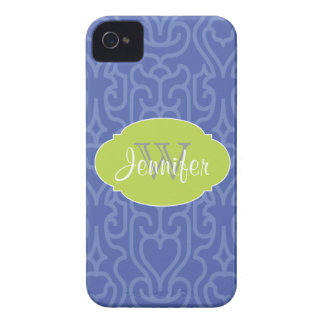 Trendy Moroccan Blue Pattern with monogram Case-Mate iPhone 4 Cases
