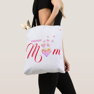 Trendy Mum|Mom ~ Floral Heart Tote Bag