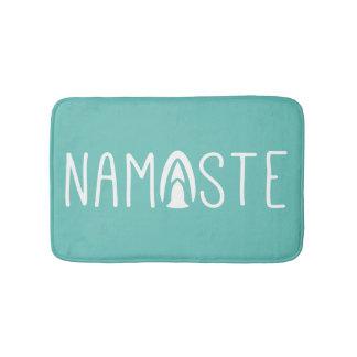 Trendy Namaste Yoga Green and White Bath Mat