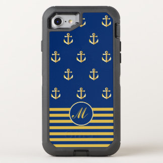 Trendy Navy and Gold Anchors Design OtterBox Defender iPhone 8/7 Case