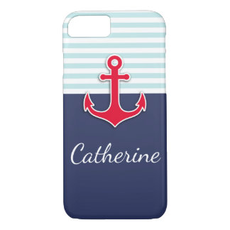 Trendy Navy Blue Nautical Red Anchor Design iPhone 7 Case