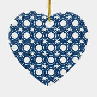 Trendy Navy Blue Polka Dots Pattern Ceramic Heart Ornament