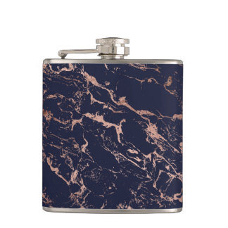 Trendy navy blue rose gold marble pattern hip flask
