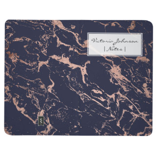 Trendy navy blue rose gold marble pattern journal