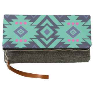Trendy Navy Blue Turquoise Pink Aztec Tribal Clutch