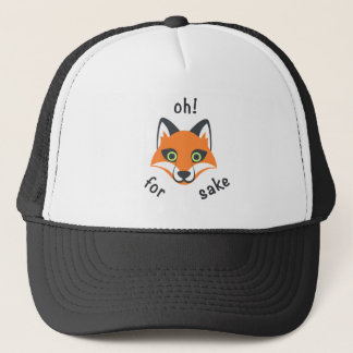 Trendy Oh! For Fox Sake phrase Emoji Cartoon Trucker Hat