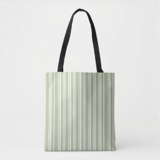 Trendy Olive Green and White Pinstriped Tote Bag