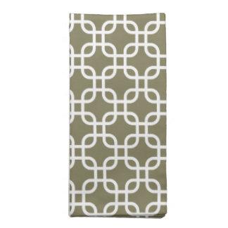 Trendy Olive Green Geometric Pattern Napkins