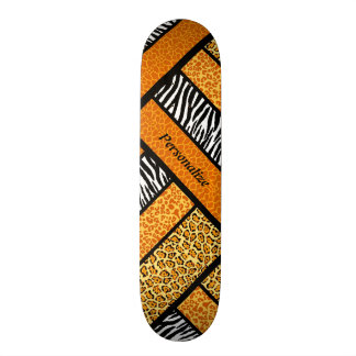 Trendy Orange African Animal Print With Name Custom Skate Board