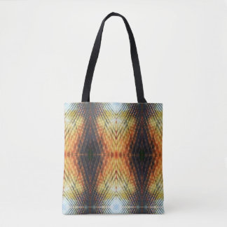Trendy Orange Blue Fractal Light Pattern Tote Bag