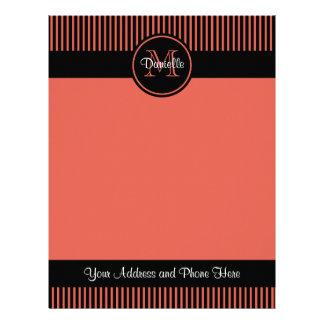 Trendy Orange Chic Black Stripes Circle Monogram Customized Letterhead