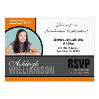 Trendy Orange & Gray Photo Graduation Invitations