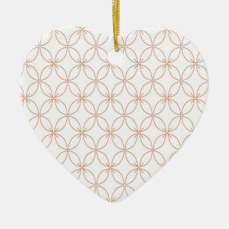 Trendy orange quatrefoil pattern ceramic heart ornament