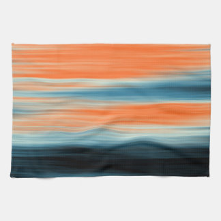 Trendy Orange Red Blue Stripes Kitchen Towel