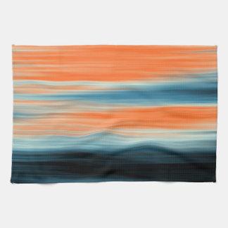 Trendy Orange Red Blue Stripes Towel