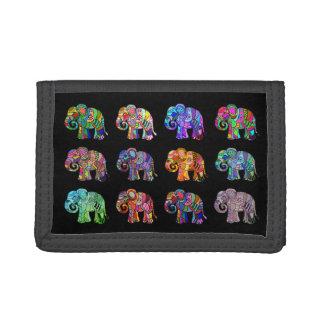 Trendy ornamental colorful psychedelic elephants tri-fold wallet