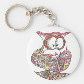 Trendy Owl - Abstract Art Ink Drawing Key Chain