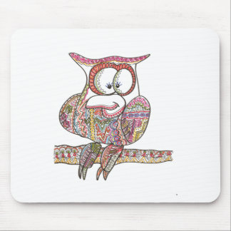 Trendy Owl - Abstract Art Ink Drawing Mouse Pad