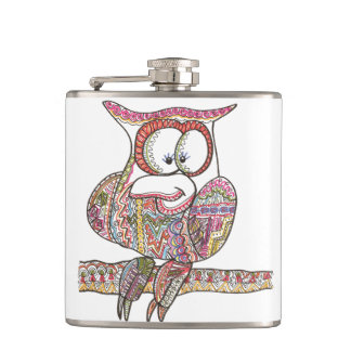 Trendy Owl-Abstract Ink Doodle Flasks