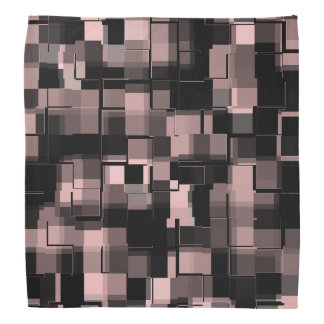 Trendy Pale Pink Black White Gray Abstract Pattern Bandana